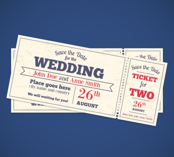 Free Vector Wedding Invitation Tickets