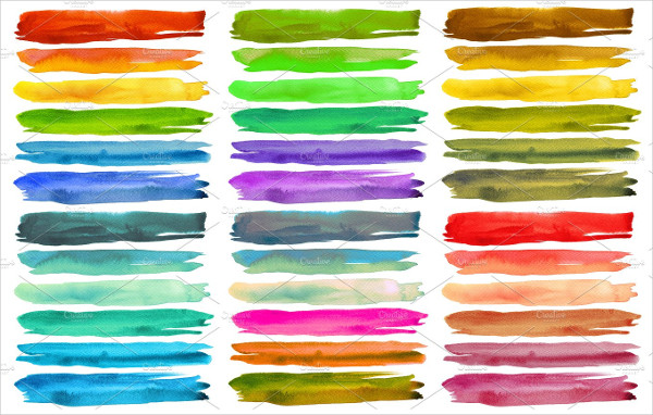 Set Of Watercolor Brushes Strokes