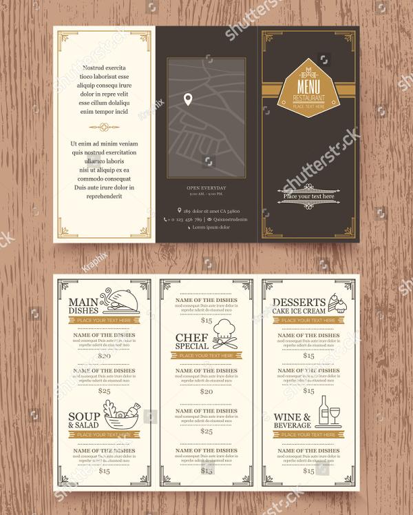 Vintage Restaurant Trifold Menu Design
