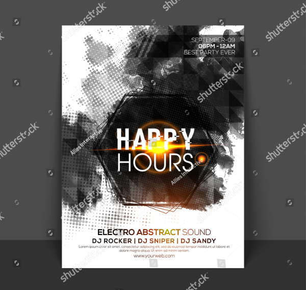 Abstract Happy Hour Flyer Template