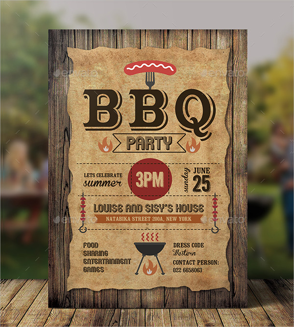 BBQ Holiday Party Invitations Template