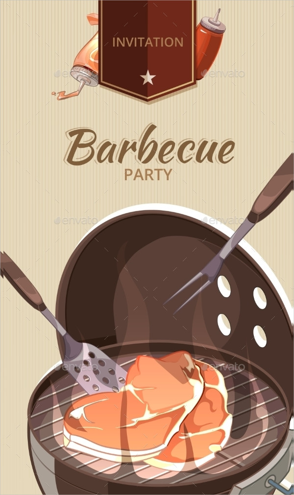 Vector BBQ Party Invitations Template