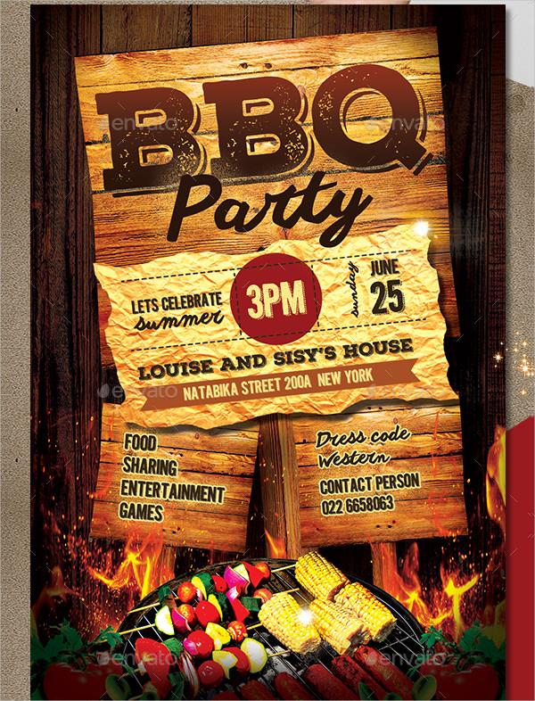 BBQ Sunday Party Invitation Template