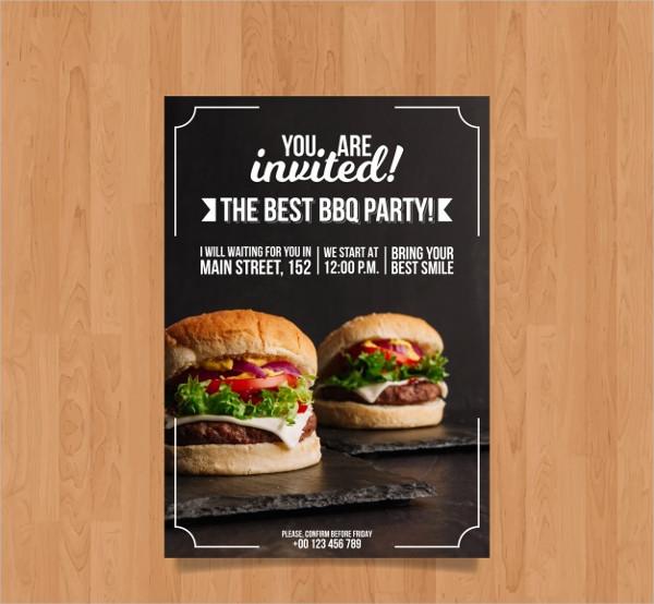 BBQ Invitation Template With Hamburger Photo