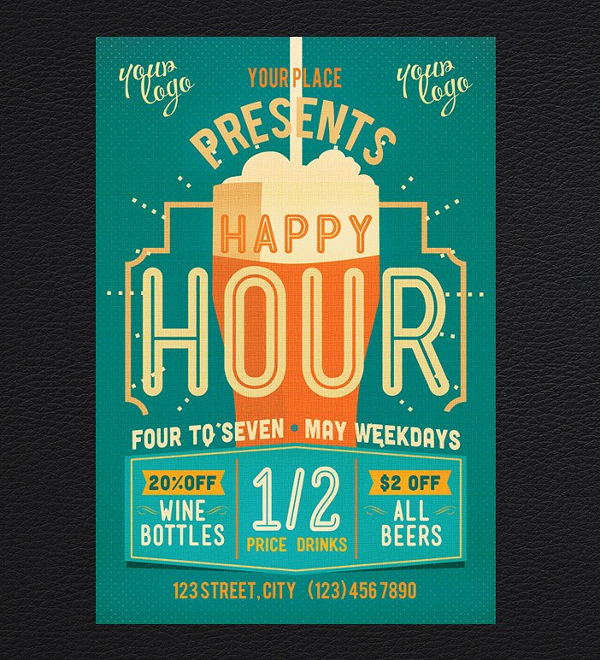 Best Happy Hour Flyer Template