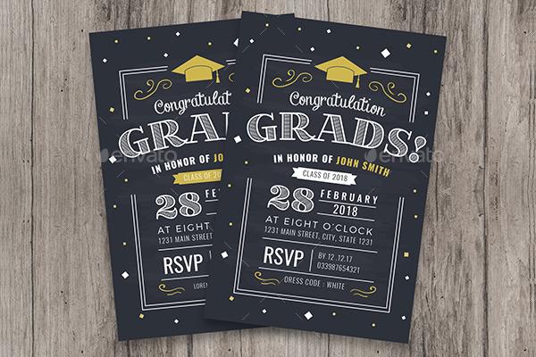 Chalkboard Style Graduation invitation