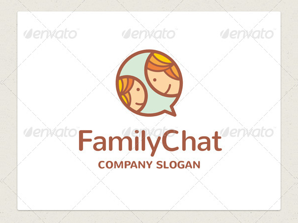 Chat Family Vector Logo Template