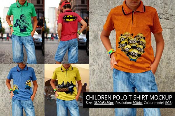 Children Polo T-shirt Mockup
