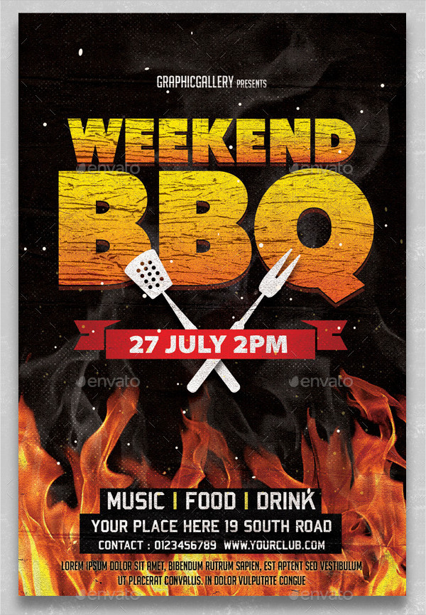Clean Weekend BBQ Invitation Template