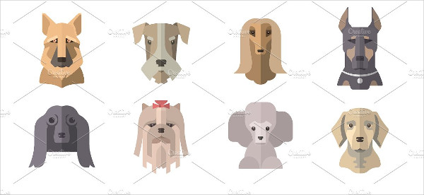 Collection Of Dog Icons Design Template