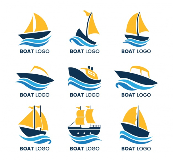 Collection Of Boat Logos With Waves Free Vector