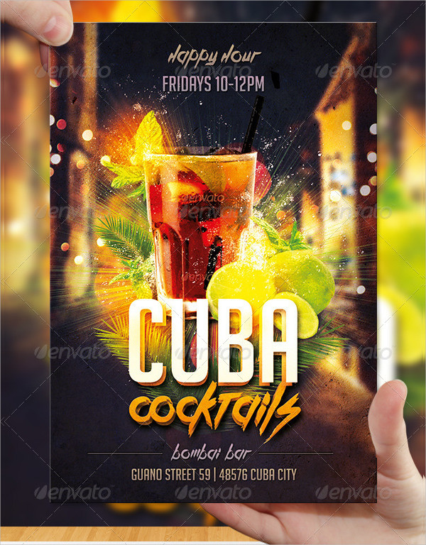 Cocktail Flyer Templates  Free  Premium Download