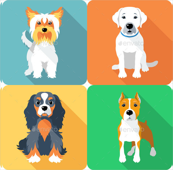 Dog Icon Design With Different Breed