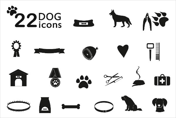 Dog Supplies Icons Set