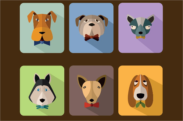 Dogs Avatar Icon Set Design