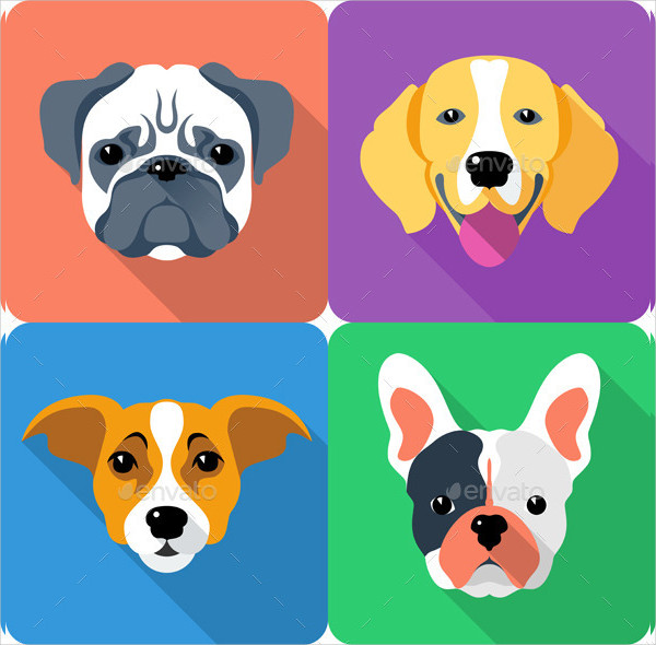 Flat Dog Icon Set Template