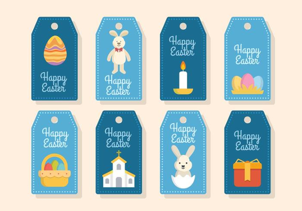 Flat Easter Gift Tags Vectors Free
