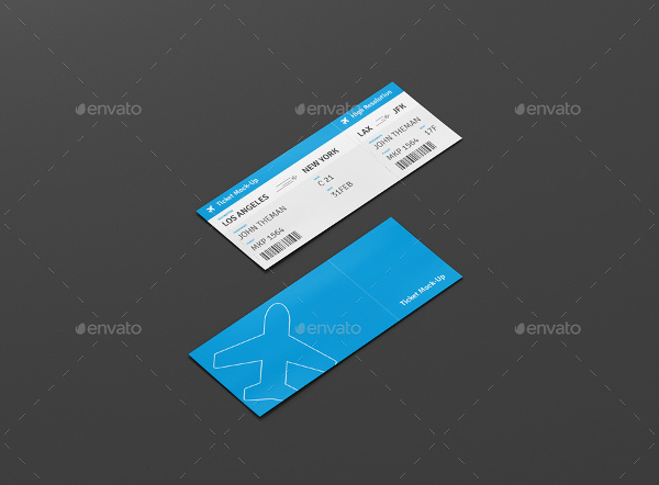 Flight Ticket Mockup Templates