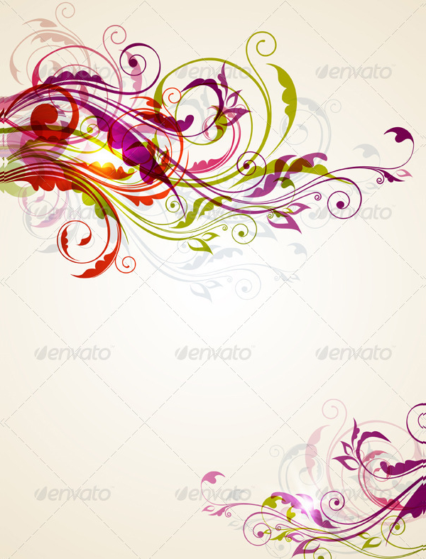Floral Background With Colorful Ornament