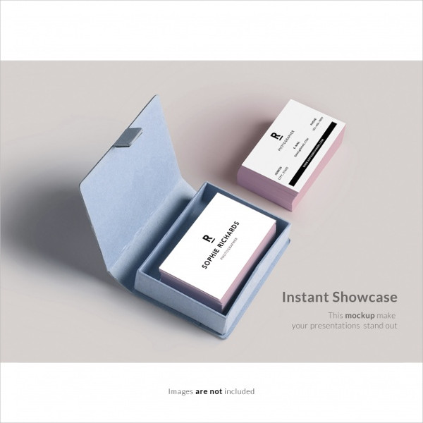 Free Business Card With Box Mockup Template