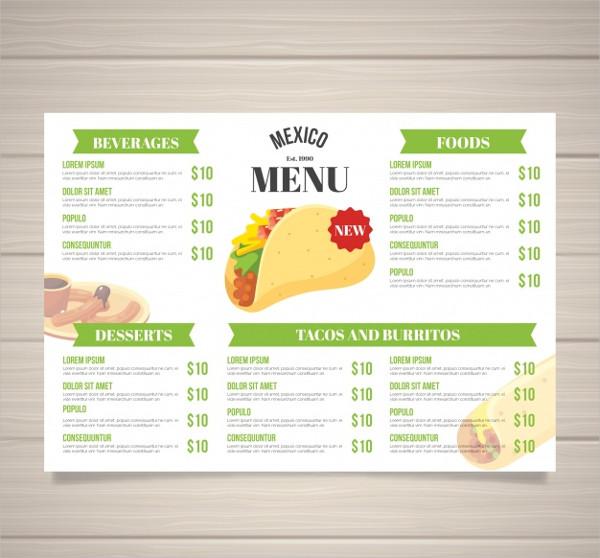 Mexican menu placemat food restaurant, menu template design... | Mexican  menu, Food menu design, Mexican food menu