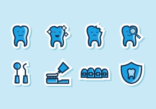 Free Funny Dental Icons Vector