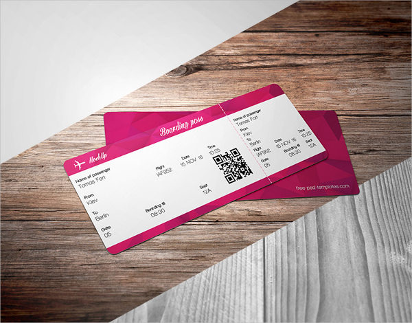 Free Ticket PSD Mockup Template
