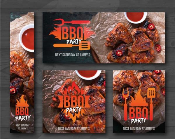 Free Vector Barbecue Invitations Set