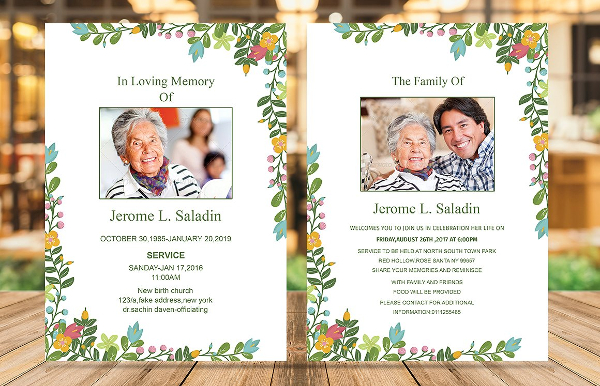 Funeral Announcement Print Template