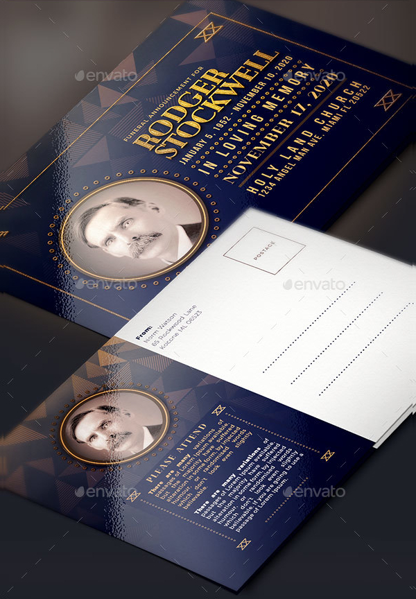 Funeral Announcement Vector Card Template