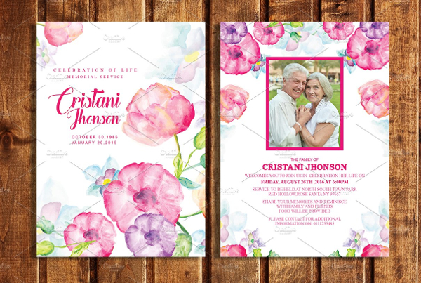 Funeral Announcement or Invitation Card Template