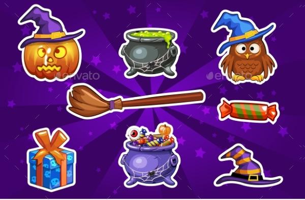 Funny Cartoon Halloween Sticker Icons