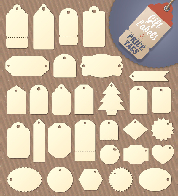 Gift Tag And Price Label Shapes Template