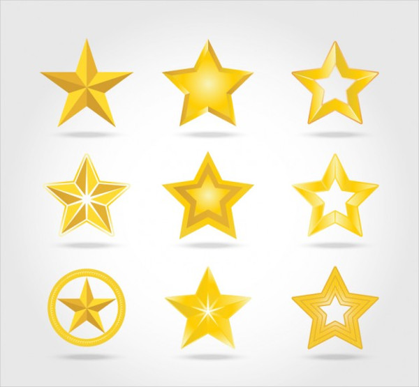 Golden Stars Icon Free Vector