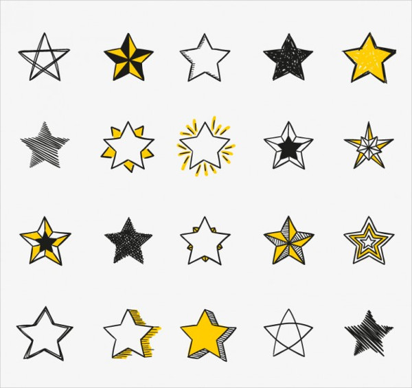 Hand Drawn Stars Icons Free Vector