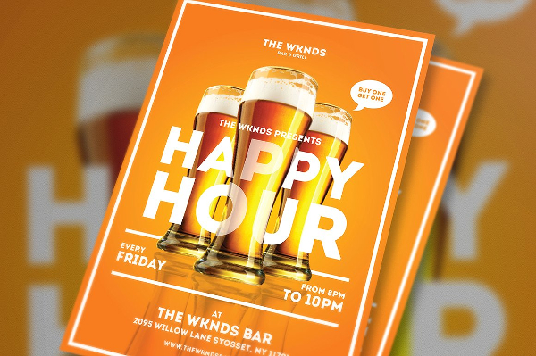 Happy Hour Bar And Events Flyer Template