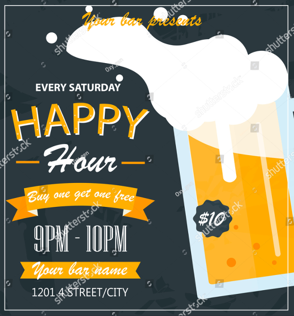 Happy Hour Bar And Vector Flyer Template