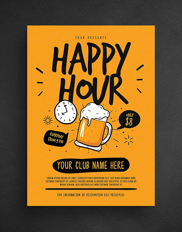Happy Hour Beer Flyer Template