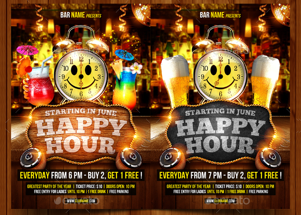 Happy Hour Celebration Flyer Template