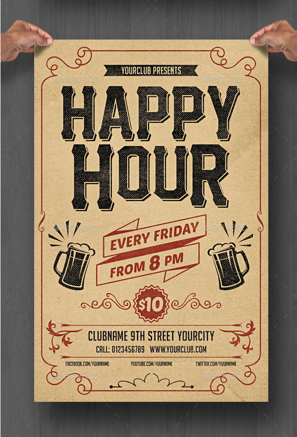 Happy Hour Desing Flyer Template