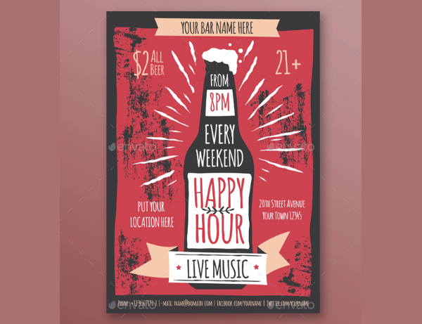 Happy Hour Music Flyer Template