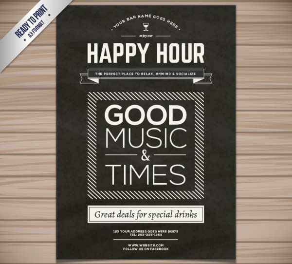 Happy Hour Poster Or Flyer Template