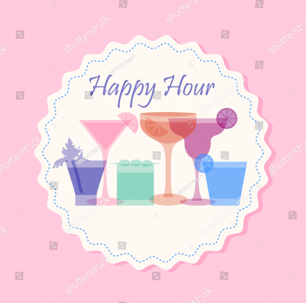 Happy Hour Flyer Template With Cocktail