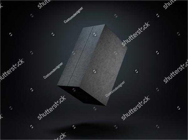 Black Box Mock-Up On Dark Background