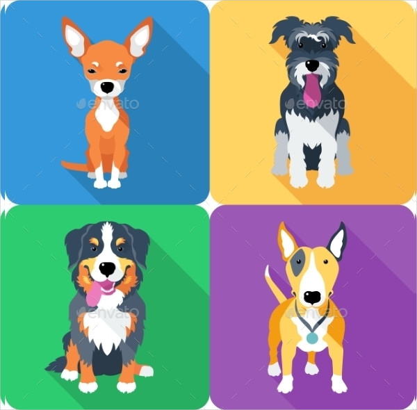 Modern Dog Icons Design Set
