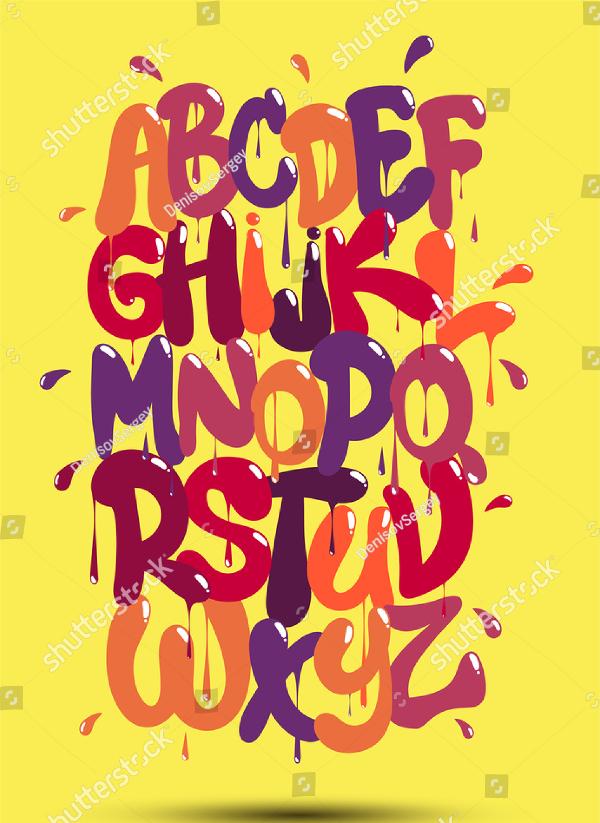 Multicolored graffiti font