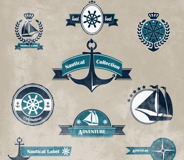 Nautical Logos Collection Free Vector