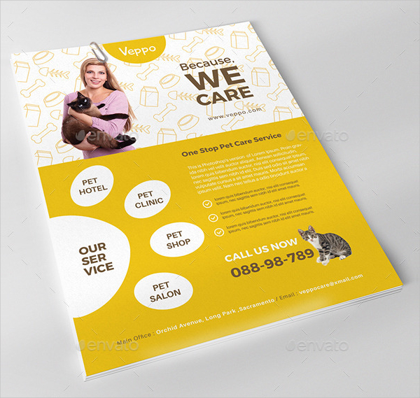 Pet Care Advertising Flyer Template
