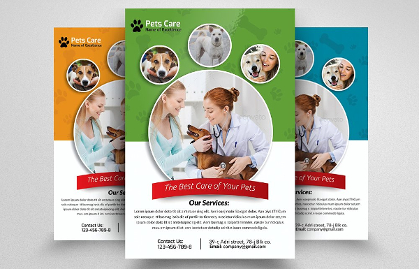 Pets Clinic Vector Flyer Template