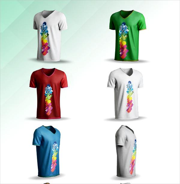 Print Ready V-neck T-shirt Mockup
